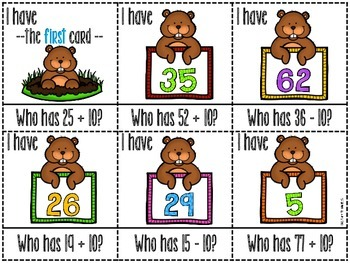 Groundhog Math I Have, Who Has + Printables {10 more, 10 less}