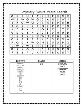 Groundhog Mystery Picture Word Search