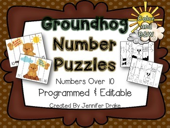 Groundhog Number Order Puzzles ~Color & B&W~  EDITABLE