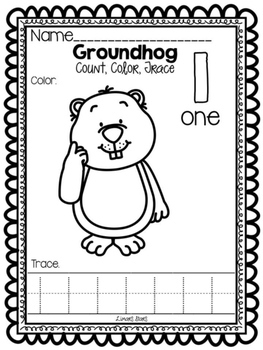 Groundhog Numbers 1-10: Count, Color, & Trace