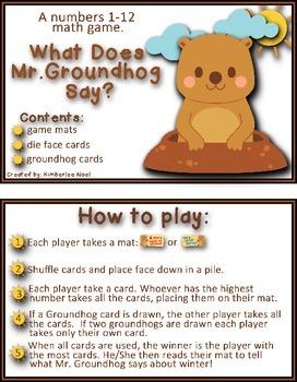 Groundhog Numbers 1-12 Game FREEBIE!