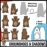 Groundhog Poses and Shadows Clip Art