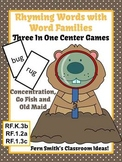 Groundhog Day Rhyming Words with Word Families Center Games and Printables