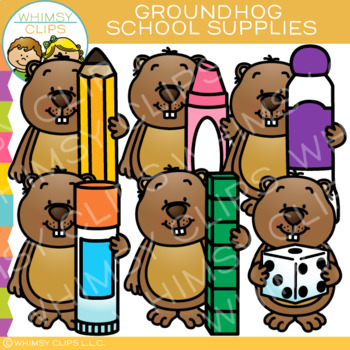 School Supplies Groundhog Clip Art