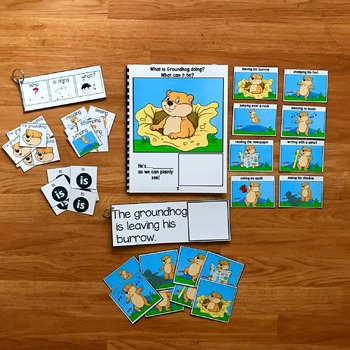 "Groundhog Sentence Builder Book:  ""What Is Groundhog Doing?"""