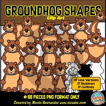 Groundhog Shapes Clip Art for Teachers