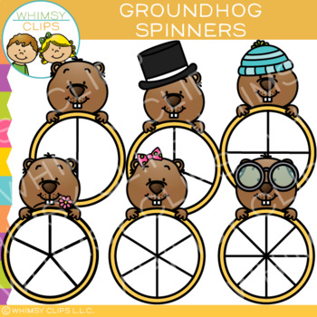 Spinners with a Groundhog Clip Art