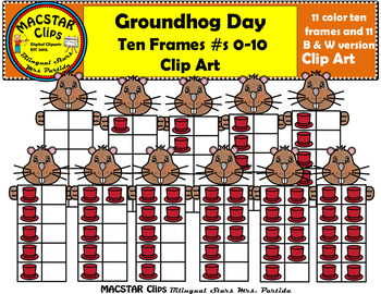 Groundhog Ten Frames Clip Art Personal and Commercial Use 22images Groundhog Day