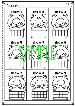 Groundhog Ten and Twenty Frame Activity Cards