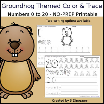 Groundhog Themed Number Color and Trace