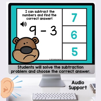 Groundhog Themed Subtraction Task Cards Boom