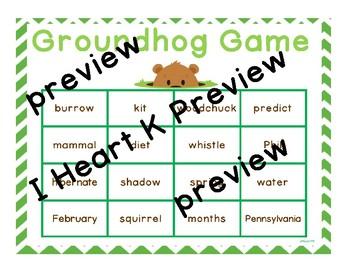 Groundhog Vocabulary Bingo