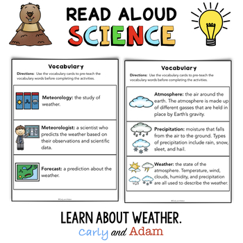Groundhog Weather School READ ALOUD SCIENCE™ Activity and Weather Observation