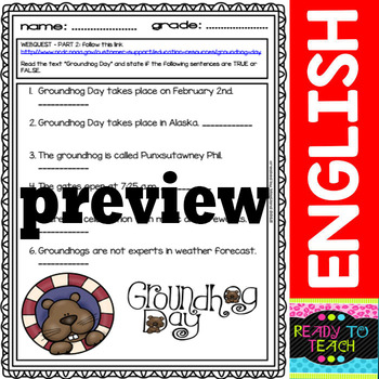 Groundhog Webquest and Printables