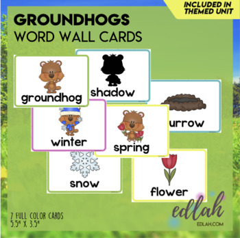 Groundhog Word Wall Cards (set of 6)