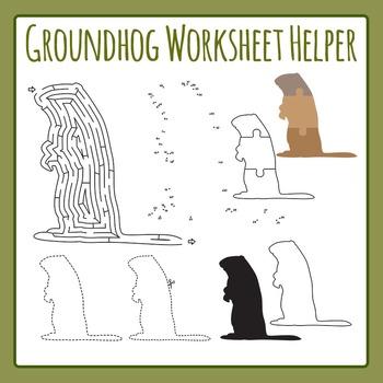 Groundhog Worksheet Helpers Clip Art Pack for Commercial Use