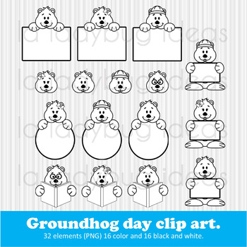 Groundhog day clip art. PNG. Color and B&W.