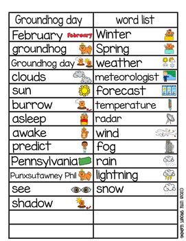 Groundhog day Word Wall (includes word list and word work pages)
