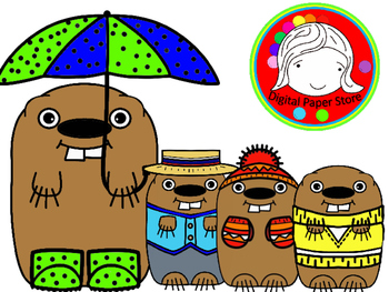 Groundhog in Spring & Winter Clothing Clipart (Personal & Commercial Use)