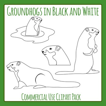 Groundhog or Woodchuck Black and White Line Art Commercial Use Clip Art Set