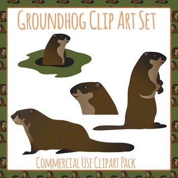 Groundhog or Woodchuck Collection Commercial Use Clip Art Set