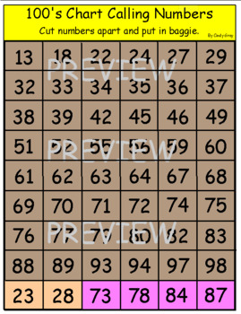 Groundhog's Day 100's Chart BINGO