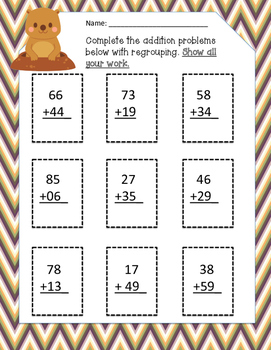Groundhog's Day Addition/Subtraction with Regrouping