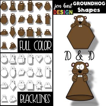 Groundhog's Day Clip Art BUNDLE- Letters, Numbers, & Shapes {jen hart Clip Art}
