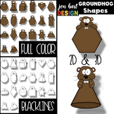 Groundhog's Day Clip Art - Groundhog 2D & 3D Shapes {jen h