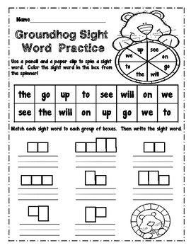 Groundhog's Day Flip Books and Sight Word Practice