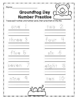 Groundhog's Day Number Practice Printables