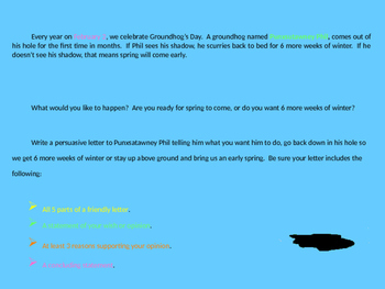 Groundhog's Day Persuasive Friendly Letter Activity PowerPoint