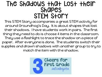 Groundhog's Day Stem Story: Finding Shadows!