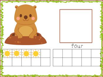 Groundhog's Day Ten Frame Number Match