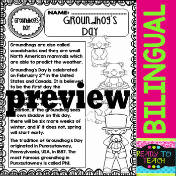 Groundhog`s Day - Social Studies Centers - Bilingual Set