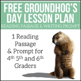 FREE Groundhog's Day Lesson   Reading Passage and Writing Prompt