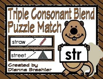 Groundhog's Triple Consonant Blend Puzzle Match