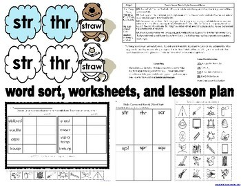 Groundhog's Triple Consonant Blends Literacy Bundle with Assessment