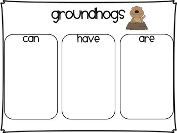 Groundhogs Can/Have/Are Chart