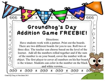 Groundhog's Day Addition Game