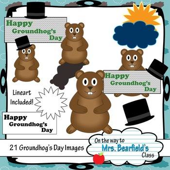 Groundhog's Day Clipart (Outline Included)