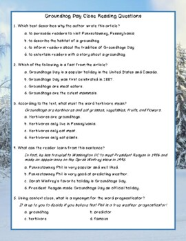 Groundhogs Day Close Reading Comprehension Passage and Questions