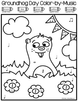 Groundhog Day Music Coloring Color By