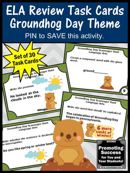 Groundhog Day Activities Language Arts Review Games, Grammar Task Cards