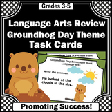 Groundhog Day Activities, Language Arts Task Cards, Literacy Centers Rotation