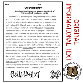 Groundhogs Day Paragraph and Vocabulary