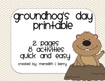 Groundhog's Day Printable