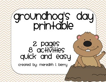 Groundhog's Day Printable