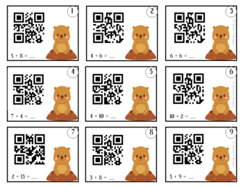 Groundhog Day Activities ~ Addition and Subtraction QR Cards