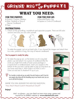 Groundhog Day Song and Pop-Up Groundhog Puppet Activity